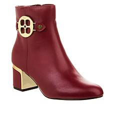 """As Is"" IMAN Global Chic Leather Bootie with Metal Logo Detail"