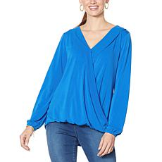 """As Is"" IMAN Global Chic Long-Sleeve Surplice Front Top"