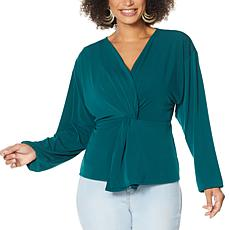 """As Is"" IMAN Global Chic Long Sleeve Twist-Front Top"