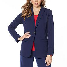 """""""As Is"""" IMAN Global Chic Luxury Resort Blazer with Printed Cuffs"""