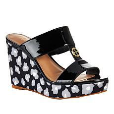 """""""As Is"""" IMAN Global Chic Luxury Resort Leopard Wedge Sandal"""
