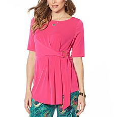 """As Is"" IMAN Global Chic Luxury Resort Short-Sleeve Knot-Front Top"