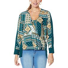 """As Is"" IMAN Global Chic Printed Drape-Front Woven Top"