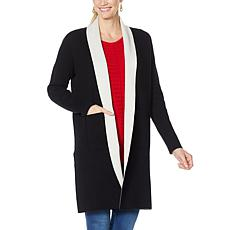 """As Is"" IMAN Global Chic Reversible Pocket-Front Knitted Cardigan"