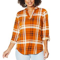 """As Is"" IMAN Global Chic Roll Tab Utility Top"