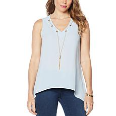 """""""As Is"""" IMAN Global Chic Sleeveless Necklace Top"""