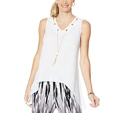"""As Is"" IMAN Global Chic Sleeveless Necklace Top"