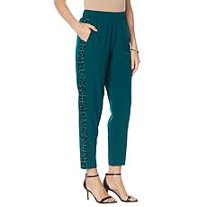 """""""As Is"""" IMAN Global Chic Stretch Woven Side Stripe Ankle Pant"""