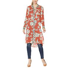"""""""As Is"""" Jessica Simpson Lori Printed Button-Down Duster Shirt"""