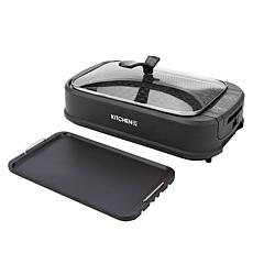 """""""As Is"""" Kitchen HQ 1500-Watt Smokeless Nonstick Grill & Griddle"""