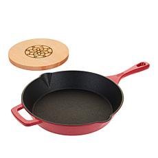 """As Is"" Kitchen HQ Elite 10"" Nonstick Cast Iron Frypan with Magneti..."