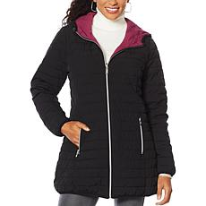 """As Is"" Laurier Hooded Stretch Reversible Coat"