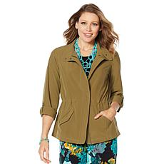 """""""As Is"""" Lemon Way On-the-Move Stretch Tech Zip-Front Utility Jacket"""