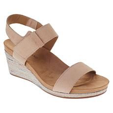 """As Is"" Lucky Brand Kollia Leather Platform Wedge Sandal"