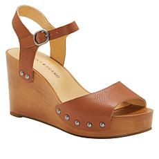 """As Is"" Lucky Brand Zashti Leather Platform Wedge Sandal"