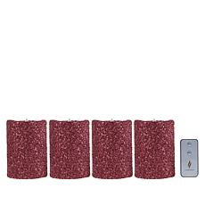 """As Is"" Luminara 5"" Moving Flame Glitter Candle - 4-pack"