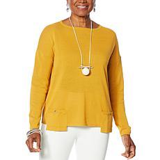 """""""As Is"""" MarlaWynne Drop Pocket Boat-Neck Sweater"""