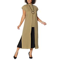 """As Is"" MarlaWynne Pleated Duster with Snaps"