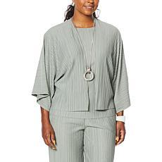 """As Is"" MarlaWynne Plisse Knit Kimono Topper"