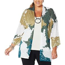"""As Is"" MarlaWynne Semi-Sheer Printed Slub Knit Topper"