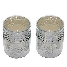 """As Is"" Matchless 2-piece Push Button Mercury Glass LED Candles"