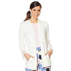 """""""As Is"""" ModernSoul® Luxe French Terry Lace-Trim Cardigan"""