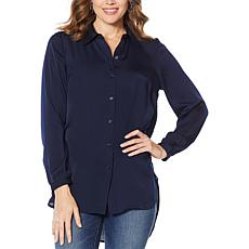 """""""As Is"""" Motto Button-Down Tunic Blouse"""