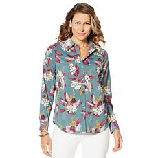 """As Is"" Motto Stretch Chiffon Printed Button-Front Shirt"