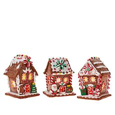 """""""As Is"""" Mr. Christmas 3pk Battery-Operated Lighted Gingerbread Hous..."""