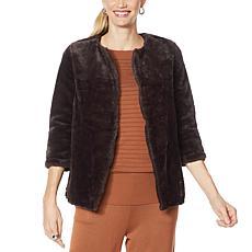 """""""As Is"""" Nina Leonard 3/4-Sleeve Faux Fur Jacket"""