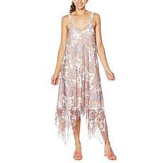 """As Is"" Nina Leonard Adjustable Strap Asymmetric Powermesh Dress"