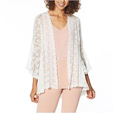 """""""As Is"""" Nina Leonard Bell-Sleeve Lace Open Front Topper"""