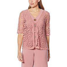 """As Is"" Nina Leonard Crochet Floral Tie-Front Bolero"