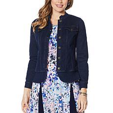 """As Is"" Nina Leonard Denim Stretch Button Front Jacket"