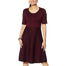 """As Is"" Nina Leonard Jacquard Fit and Flare Sweater Dress"
