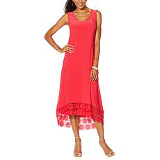 """As Is"" Nina Leonard Miracle Matte Jersey Dress with Crochet Hem"