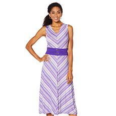 """As Is"" Nina Leonard Miter Stripe Stretch Midi Dress"