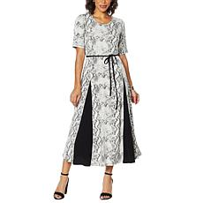 """As Is"" Nina Leonard Nicole Belted Midi Dress with Godet Detail"