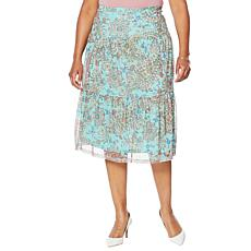 """As Is"" Nina Leonard Printed Power Mesh Tiered Skirt"
