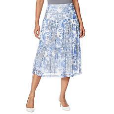 """As Is"" Nina Leonard Printed Power Mesh Tiered Skirt"