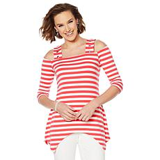 """As Is"" Nina Leonard Striped Cold-Shoulder Top"