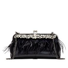 """""""As Is"""" Patricia Nash Anzio Leather Frame Bag with Faux Feathers"""