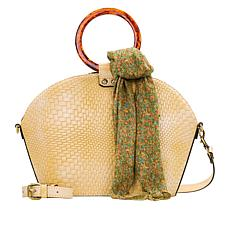 """As Is"" Patricia Nash Meldola Leather Dome Satchel with Scarf"