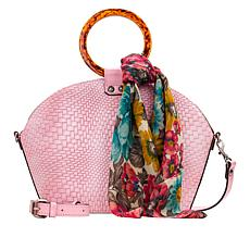 """""""As Is"""" Patricia Nash Meldola Leather Dome Satchel with Scarf"""