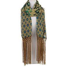 """As Is"" Rara Avis by Iris Apfel Printed Scarf with Fringe"