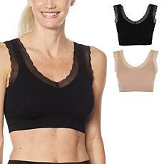 """""""As Is"""" Rhonda Shear 2-pack Ribbed Knit Lace-Trim Leisure Bra"""