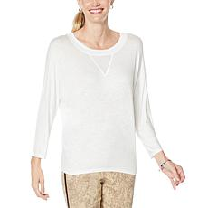 """As Is"" Skinnygirl Truth 3/4-Sleeve Top with Sheer Inset"