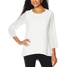 """As Is"" Slinky® Brand 3/4-Sleeve Embroidered Sequin Tunic"