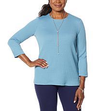 """As Is"" Slinky® Brand 3/4-Sleeve Textured Knit Tee"