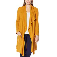 """""""As Is"""" Slinky® Brand Drape-Front Sweater Duster with Pockets"""